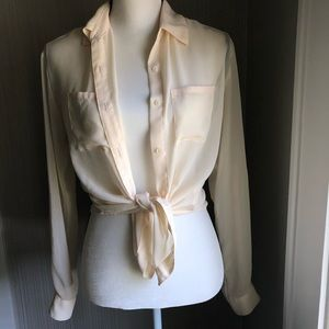 Sheer Ivory Button Up